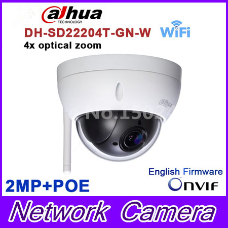 Original dahua DH-SD22204T-GN-W WiFI IP 2MP HD Network Mini PTZ Dome 4x optical zoom POE wireless Camera SD22204T-GN-W dahua sd29204t gn w 2mp mini ir ptz wifi ip speed dome new version english firmware wdr day night 2 7mm 11mm focal length
