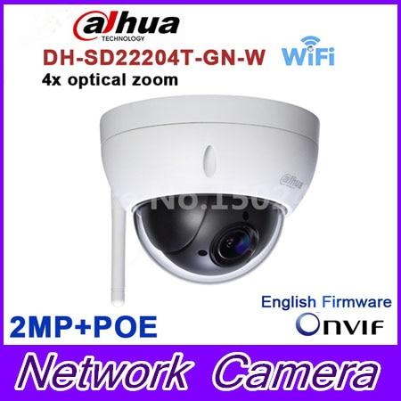Original dahua DH-SD22204T-GN-W WiFI IP 2MP HD Network Mini PTZ Dome 4x optical zoom POE wireless Camera SD22204T-GN-W