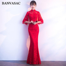 BANVASAC 2018 Illusion High Neck Lace Embroidery Mermaid Long Evening Dresses Three Quarter Sleeve Party Prom Gowns