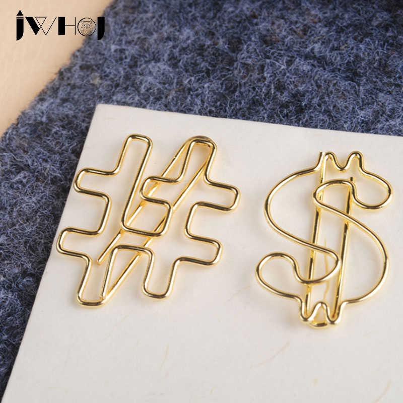 10pcs/lot Golden Dollar/# Shape Paper Clip Material Escolar Bookmarks For Books Stationery School Supplies Papelaria Child Gifts