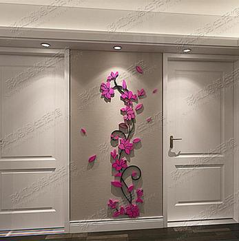 Ka To wall Decorative 3D flower wall stickers acrylic crystal brief introduction Design Decoration