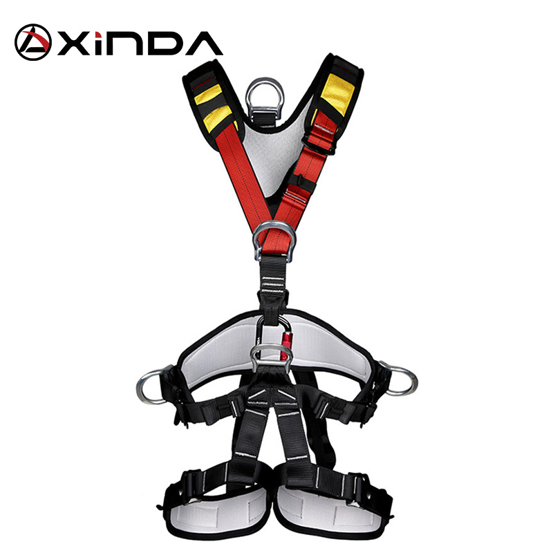 XINDA Professional ROCK Climbing Harnesses ความปลอดภัย Body Full เข็มขัด Anti Fall ที่ถอดออกได้เกียร์ความสูงอุปกรณ์ป้องกัน