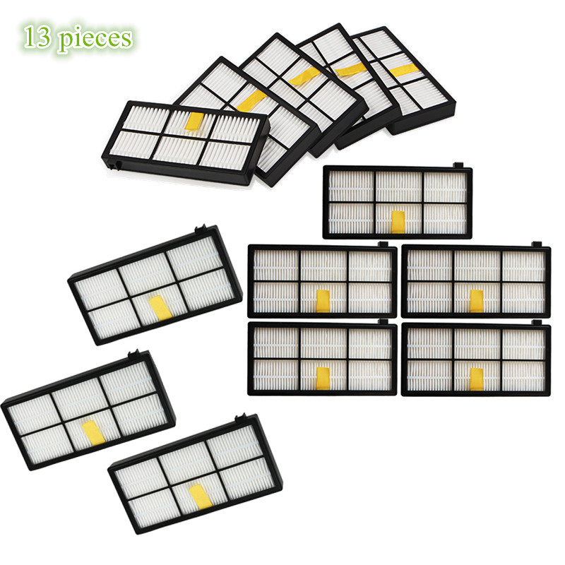 13 pieces/lot HEPA Filter kit for iRobot Roomba 800 900 Series 870 880 980 Vacuum Cleaner Accessories Parts Filters ntnt free post shipping 6 pcs hepa filter parts kit for irobot roomba 800 series 870 880 vacuum cleaner