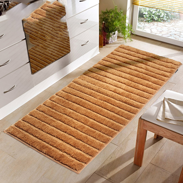 kitchen rug runners small round table and chairs 50x180cm extra long non slip bathroom runner machine washable shag shower bath mats water absorbent flocking