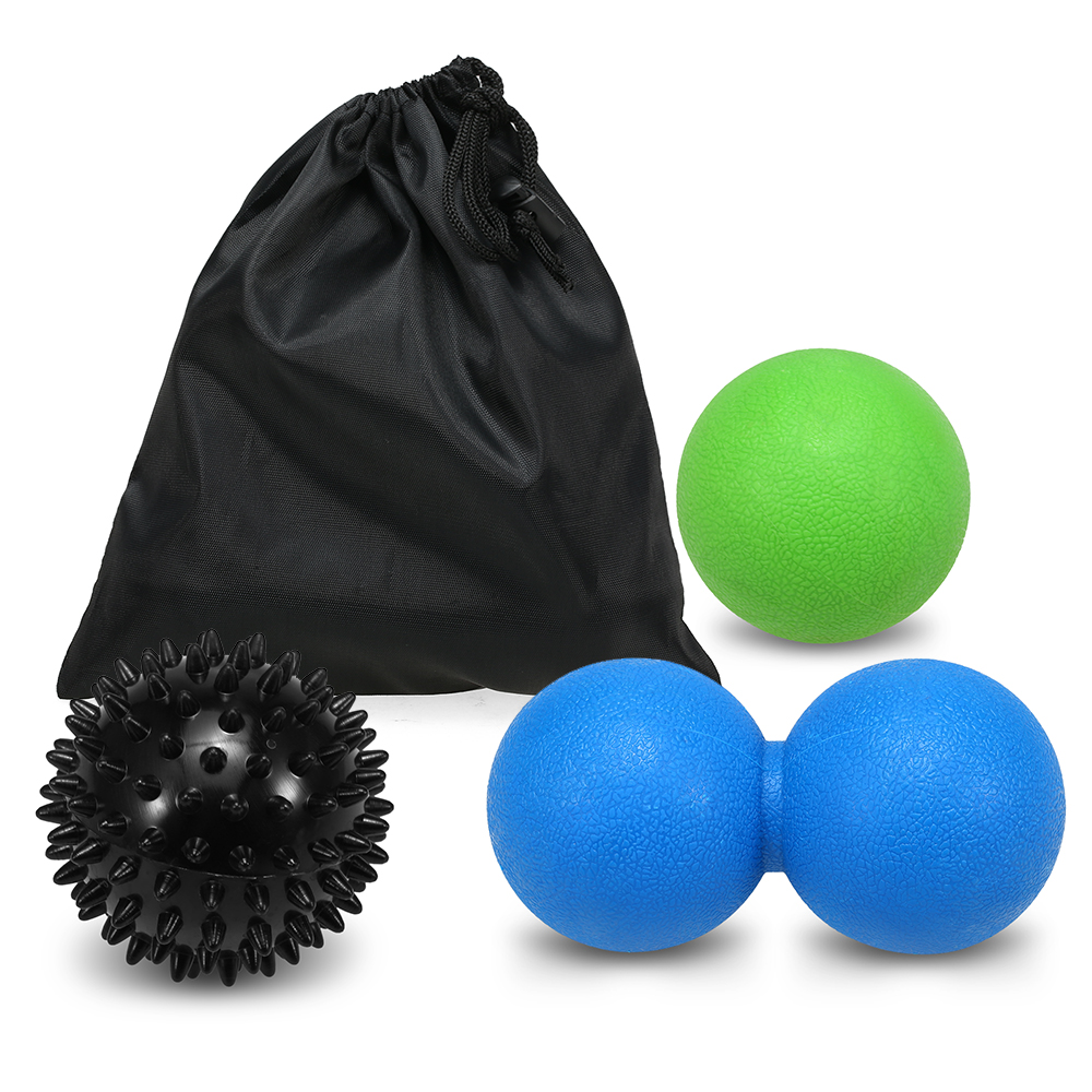 3PCS Fitness Hand Massage Ball Set Sensory Training Spiky Ball Peanut Ball Lacrosse Ball Deep Tissue Therapy for Foot Hands Back(China)