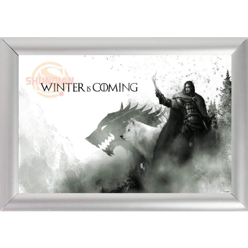 silver color aluminum alloy picture frame home decor custom canvas frame winter is coming wolf canvas
