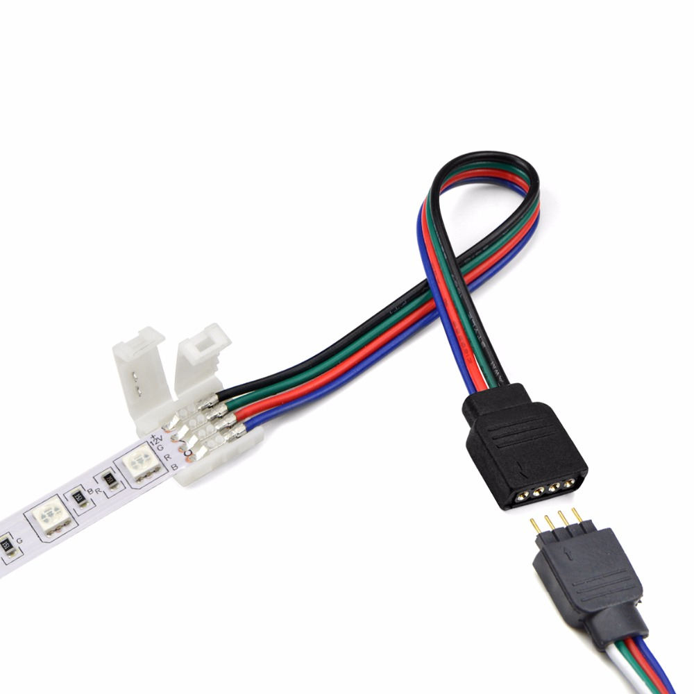 Rgb Led Strip Light Connectors 10mm 4pin No Soldering Cable Pcb Circuit Board Waterproof China Flexible Rigid Wire To 4 Pin Female Adapter For Smd 5050 In From Lights Lighting On