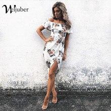 Weljuber Новый Для женщин с открытыми плечами богемное платье Разделение платье 2018 Лето листьев лотоса печати Платья для женщин Пляж Boho Середина Платье