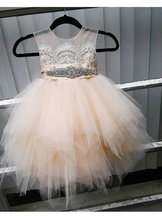 flower girl dress 'Bianca' with rhinestone sash sheer netting lace puffy butterscotch tulle birthday dress