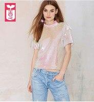Super beautiful 2018 female shiny Pink sequins short T shirts ladys short sleeves shirt OL Streewear Womens tops tees