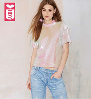 Super beautiful 2018 female shiny Pink sequins short T shirts ladys short sleeves shirt OL Streewear Womens tops tees
