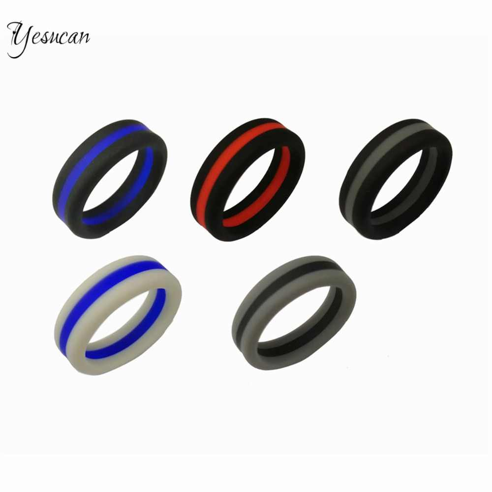 Yesucan Couple Ring Colorful Three Layer Silicone Ring Environmental Men Wedding Party Creative Jewelry Accessories Top Fashion