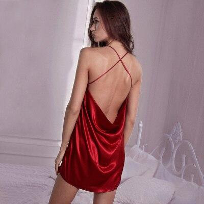 Women Sexy Lingeries Casual Sleep Dress   Nightgown   Lace Spaghetti Strap   Sleepshirt   Backless Night Dress Female Nightie Sleepwear