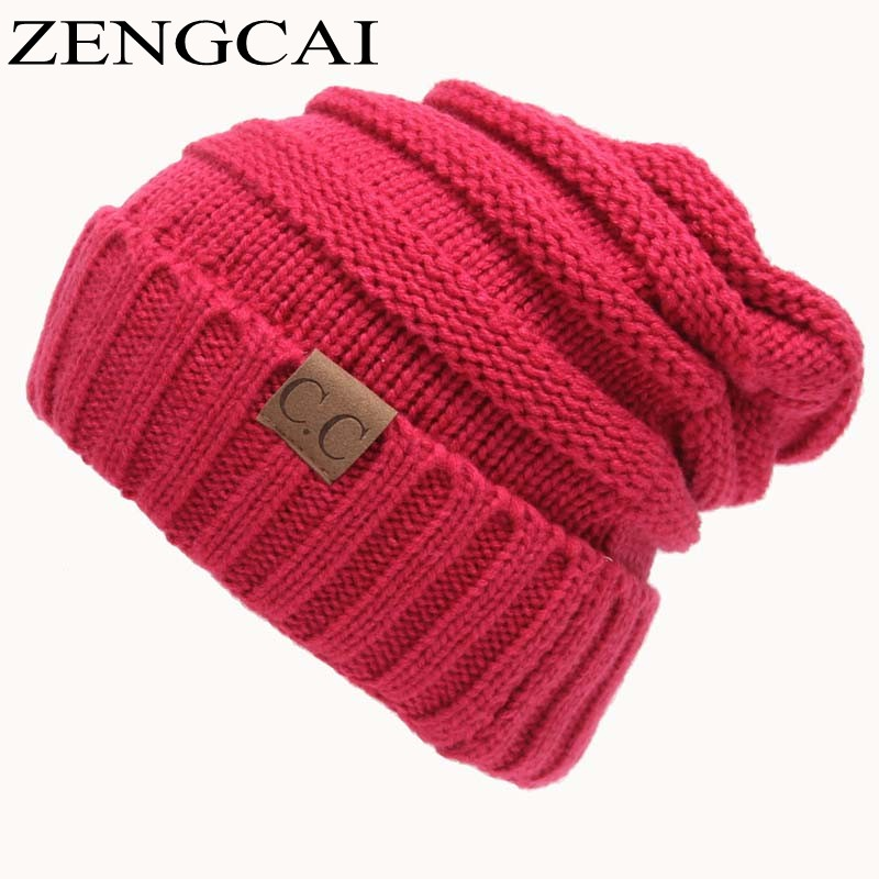 59f9106b762f7 CC Beanies Winter Hats For Women Men Knitted Caps Woolen Hat Casual ...