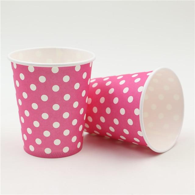10pcslot Pink Polka Dots Baby Shower Decoration Paper Glasskids