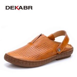 Image 1 - DEKABR Fashion Top Quality Mens Sandals Split Leather Summer Beach Casual Shoes Men Handmade Breathable Fisherman Shoes