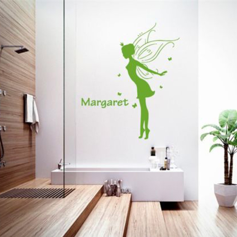 Fairy Butterfly Personlized Name Vinyl Decal Wall Stickers For