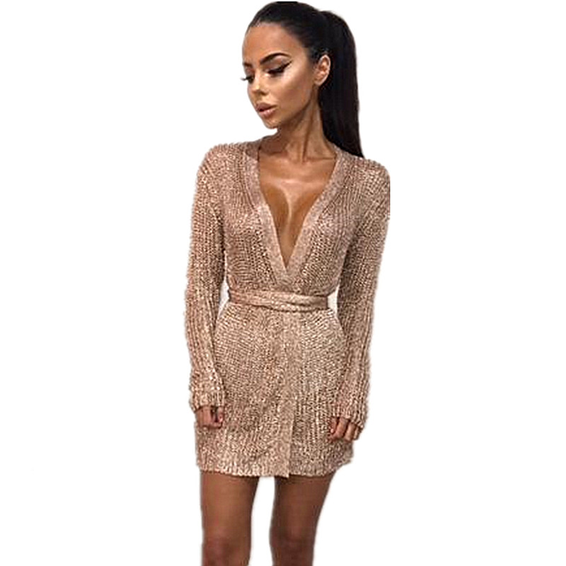 379a725d77f Women Sexy Dress Knitted Sweater Dress Silver Gold Club Party Bodycon Dress  Deep V neck Long Sleeve Cardigan Robe with Belt 2018-in Dresses from  Women s ...