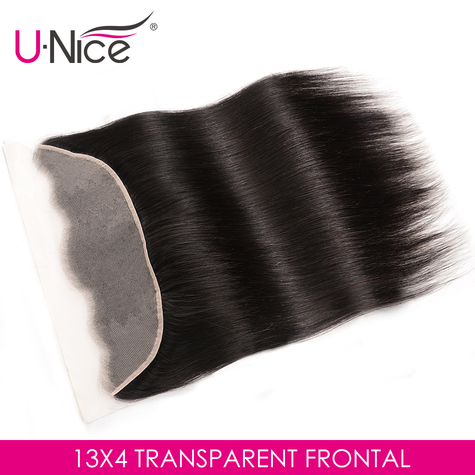 Straight Transparent Lace Frontal Closure 13X4 Free Part 10 18 Inch Pre Plucked Unice Brazilian Straight Human Hair Remy Hair-in Closures from Hair Extensions & Wigs    1