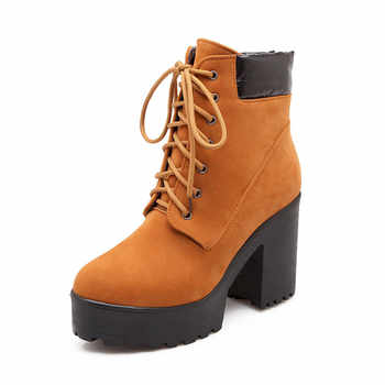 YMECHIC Autumn Women Boots Lace Up Punk Block Heel Shoes Plus Size Black Yellow Womens Boots Ankle Platform Combat Motorcycle