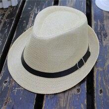 7a29b66c9f Sunhat hombres mujeres 2018 verano nueva moda Trilby Gangster Cap Casual  Beach Sun paja estilo vaquero Banda del sombrero Sunhat.