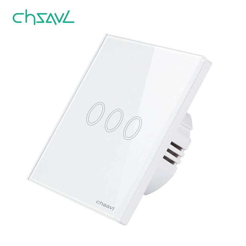 CHSAVL Wall Touch Switch 3 Gang 1 Way EU Standard Switch, AC 110-220V Light Screen Touch Switch ,Tempered Glass Crystal Panel eu sandard wall switch 1 gang 1 way toughened crystal glass panel touch switch 110 250v touch screen wall light switch