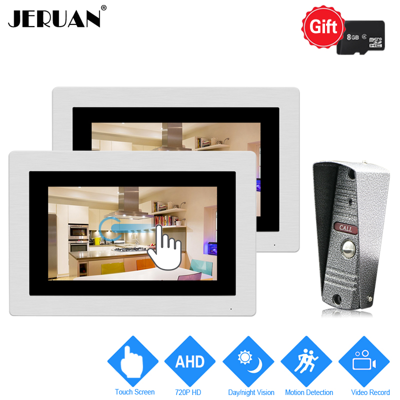 JERUAN 1.0MP 720P AHD Motion Detection 7`` Touch Screen Video Door Phone Intercom System 2 Record Monitors + HD IR Mini Camera jeruan 720p ahd motion detection 7 touch screen video door phone doorbell intercom system 2 record monitor hd ir mini camera