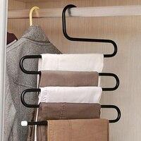 2 stks magic broek rack hanger Handig 5 Lagen sjaal Tie Handdoeken Riem Broek Broek Closet Planken Organizer Rekken