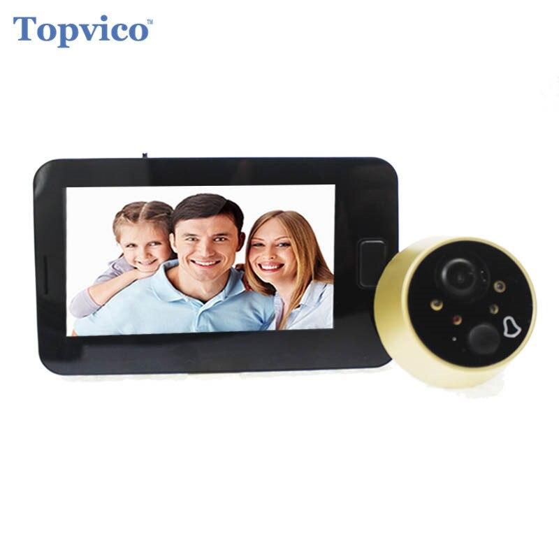 Topvico Guckloch Tür Kamera 4,3 zoll Farbe Bildschirm Mit Elektronische Türklingel Led-leuchten Video Tür Viewer Video-auge Hause sicherheit