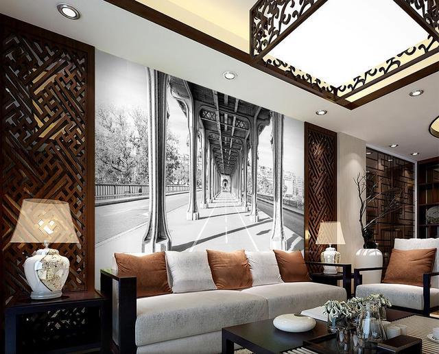 Personalizado 3D papel pintado pasillo paisaje blanco y negro ...