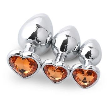 Orange metal anal plug, 3 sizes in a box