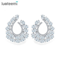Teemi New Elegant Princess Noble White Rose Gold Plated U Word Shape Stud Earrings Clear Multi