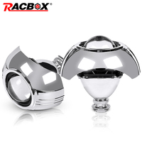 RACBOX 2 Pcs 2.5 Inch Universal Bi xenon HID Projector Lens Silver Shroud H1 Xenon LED Bulb H4 H7 Motorcycle Car Headlight Lens