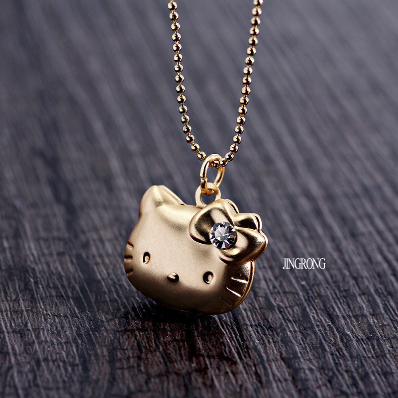 2016 new copper kitty letter necklace phase box love cat pendants photo box crystal box animal