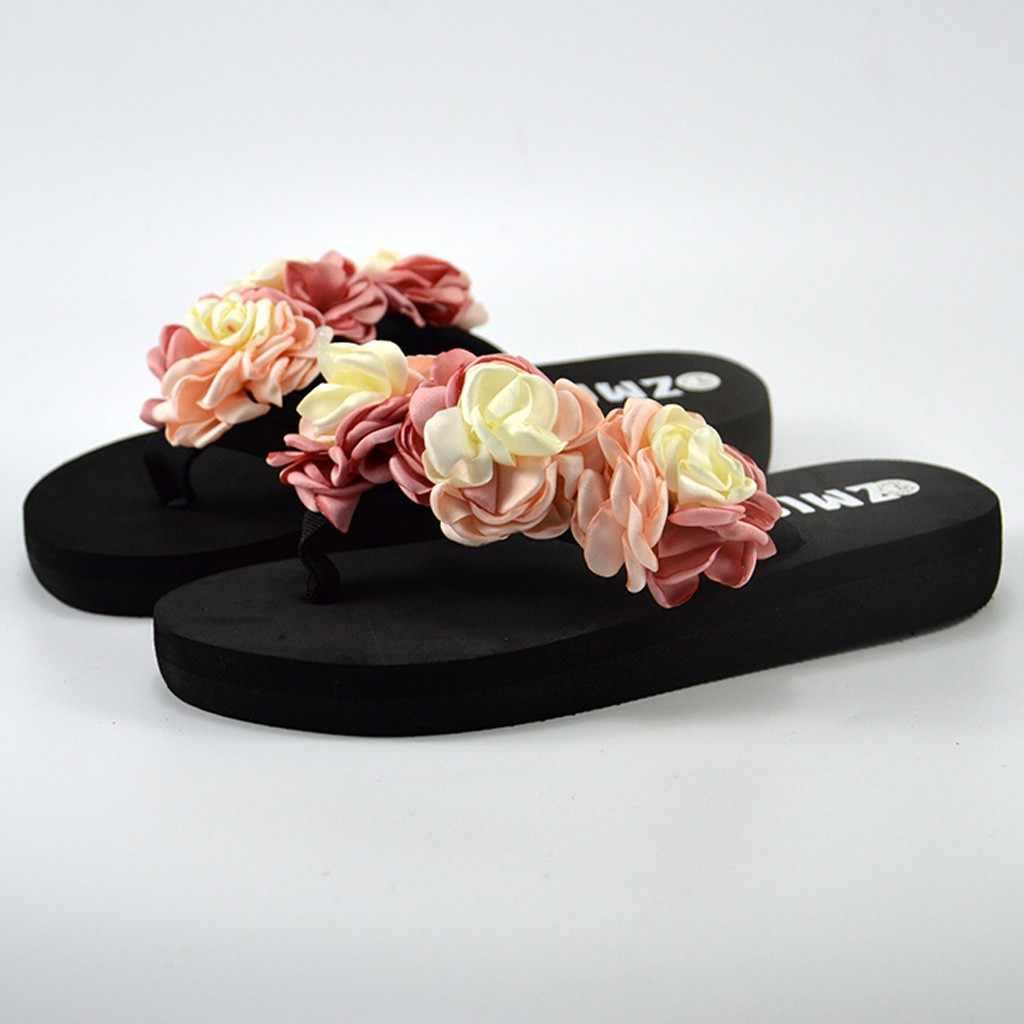 Kadın Bohemia çiçek terlik yaz plaj rahat ayakkabılar düz topuk düşük topuk terlik ayakkabı ev açık işık Flip flop ayakkabı