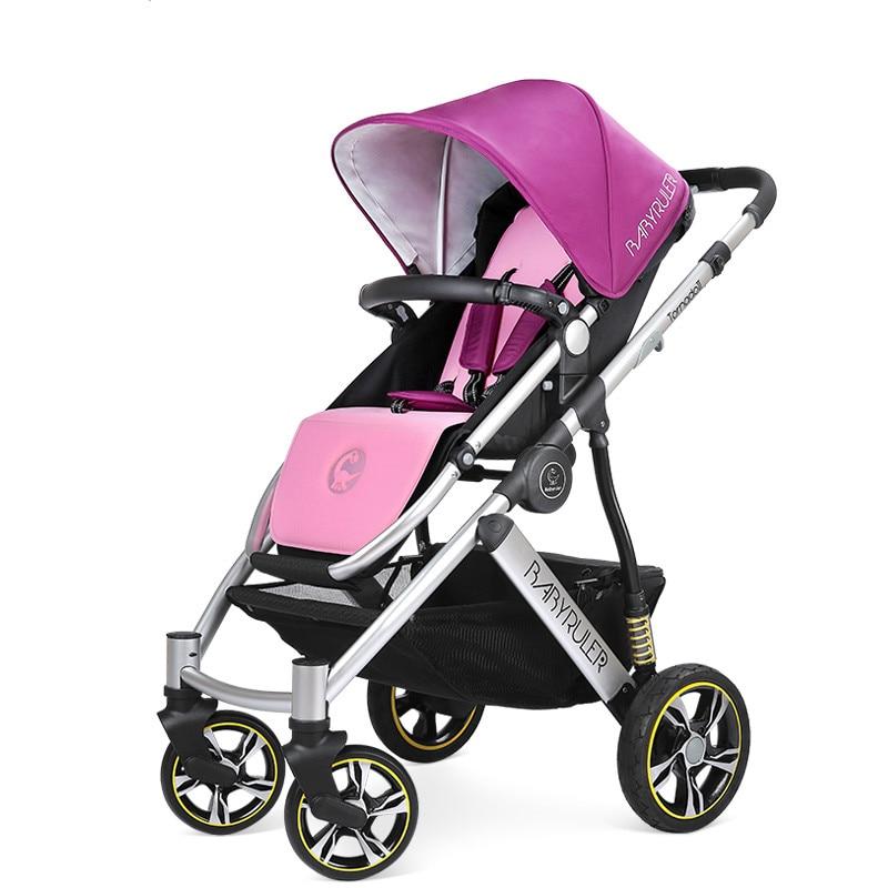 Kidstravel Luxury Baby Stroller 2 in 1 High Land-Scape Pram Portable Kinderwagen Bebek Arabasi Poussettes все цены