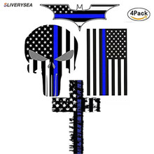 цена на Car Sticker and Decal Blue Line US Flag Punisher Skull Dark Night Decals American USA Flag Vinyl Stickers Motorcycle Car Styling