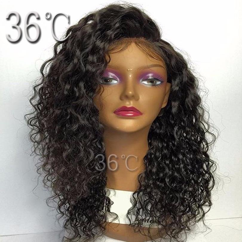 Paff Короткие вьющиеся Синтетические волосы на кружеве Человеческие волосы парик с ребенком волос бразильский девственные волосы парик есте...