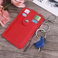 Mini Women Card Holder Portable ID Card Holder Bus Cards Cover Case Office Work Keychain Keyring Tool(China)