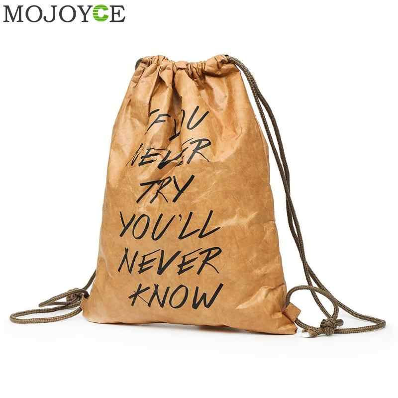 1c1f17c46 Retro Women Drawstring Backpack Thicken Waterproof Kraft Paper Fashion  Durable Riding Travelling Bags Letters Printed Casual