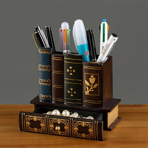 Image 2 - Multifunction Retro Wooden Pen Holder Book Shape Wood Craft Home Decor Pencil Desktop Storage Box Drawers Stationery Holder Gi