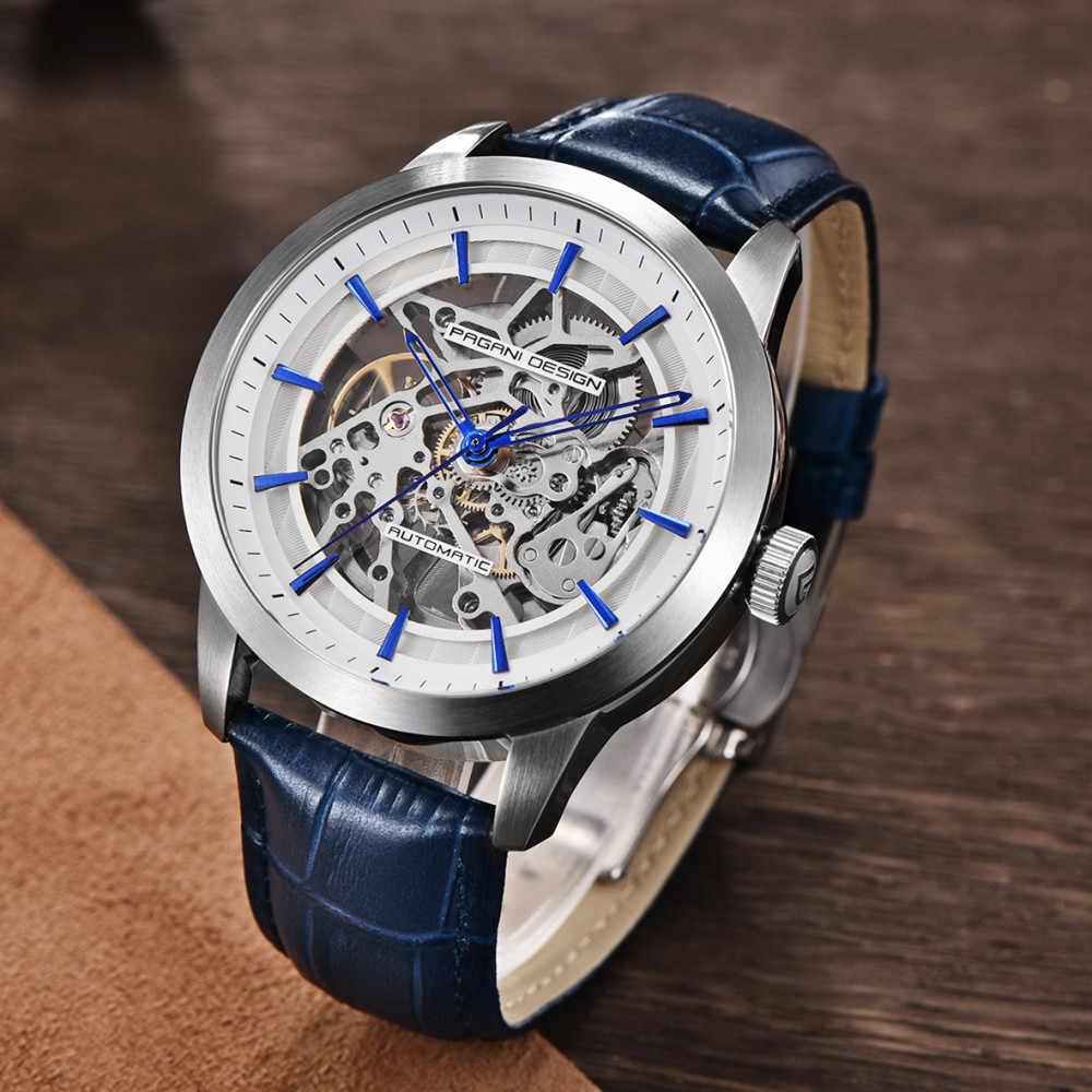 2019 PAGANI TASARıM Marka Moda Deri Altın İzle Erkekler Otomatik Mekanik İskelet Su Geçirmez Saatler Relogio Masculino Kutusu