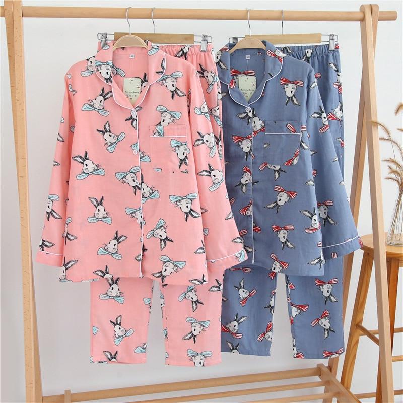 Ensemble de pyjamas à manches longues imprimé lapin été automne femmes Pijama ensemble Kawaii vêtements de nuit respirant doux coton gaze vêtements de nuit