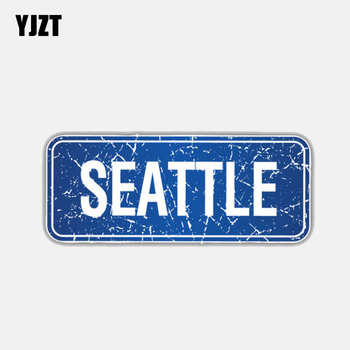 YJZT 9.3CM*3.7CM Personality Seattle City USA Motorcycle Creative Car Sticker Decal 6-3011 image