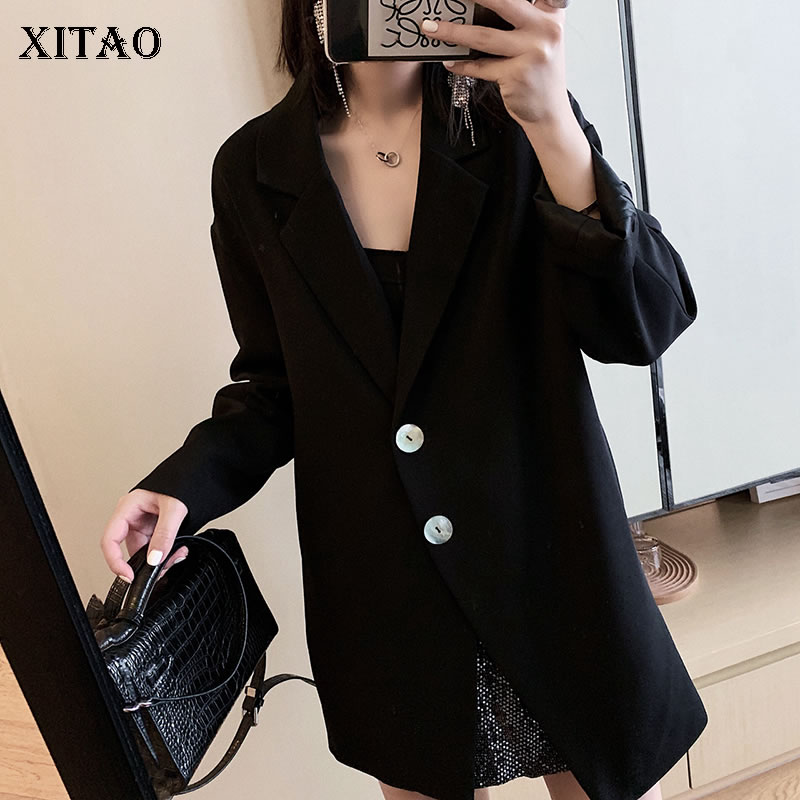 XITAO Korea Fashion Women 2019 Spring New Notched Full Sleeve Loose Coat Female Solid Color