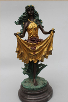 15Western Art sculpture Bronze Gild Marble long dress Belle Girl sculpture