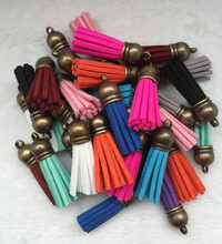 Wholesale 38mm mixed suit suede tassel, 10 unids for chain / bag strap charm jewelry brassiere DIY accessories(China)