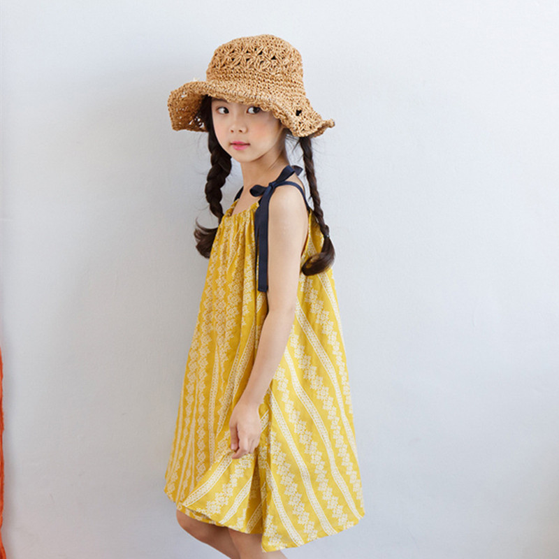 DFXD Teenagers Girls Summer Dress 2018 Fashion Lovely Baby Yellow Print Sleeveless Loose Beach Kids Costumes Vestido 3-14Y