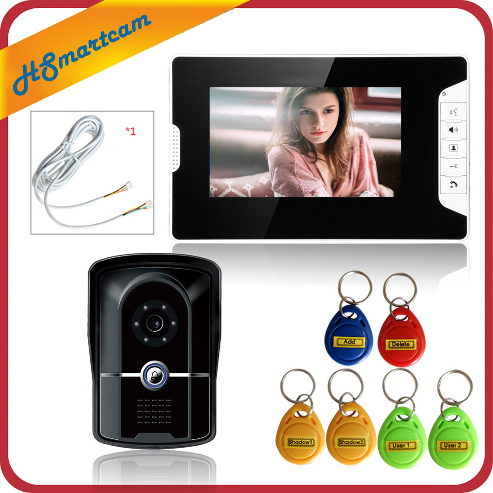 FREE SHIPPING New 7 inch Video Intercom Door Phone System 1 Monitor + 1 RFID Access Doorbell Waterproof Camera Inductive Card free shipping wired 7 inch color video intercom home door phone system 3 white monitor 1 hd rfid access doorbell camera in stock