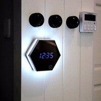 Multipurpose LED Night Light Clock Thermometer Mirror Glass Digital Luminous Alarm Clock Mute Eye Protecting Unique Gift Newest